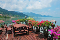 Cafe on the veranda in the fishing village of Bang Bao tropical Stock Photos