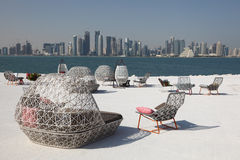 Cafe with view of Doha downtown Royalty Free Stock Images