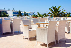 Cafe with view on sea royalty free stock photos