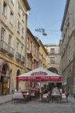 Cafe on Virmenska Street in Lviv, Ukraine Stock Photo