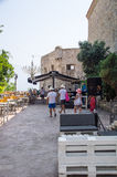 Cafe on the waterfront of the old Budva in Montenegro Stock Photos