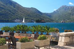 Cafe on the waterfront in Perast, Montenegro Stock Photo