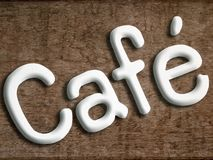 Cafe white letters on a wood Royalty Free Stock Photo