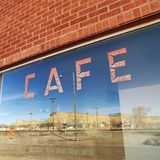 Cafe window. Exterior shot of cafe window Stock Photography