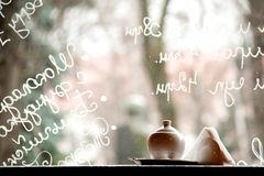 Cafe window with writings on glass. And sugar stock image