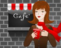 Cafe Woman Stock Photo