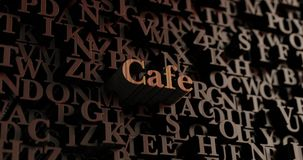 Cafe - Wooden 3D rendered letters/message Stock Photography
