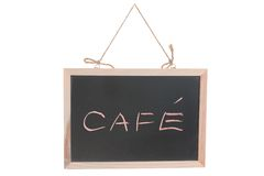 Cafe word on blackboard Stock Images