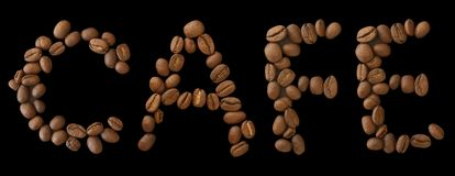 Cafe word made of coffee beans on black background - close up concept stock. Illustration royalty free illustration