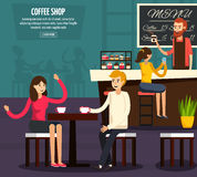 Cafe Worker Flat Composition Royalty Free Stock Photography