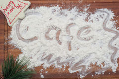 Cafe Written on Wood Board with Christmas Decoration Stock Photos