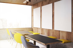 Cafe with yellow and blue chairs, side, toned Royalty Free Stock Photos