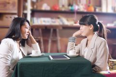 Cafe young girls chat royalty free stock image