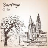 Cafedral De Santiago de Compostela chile croquis illustration de vecteur