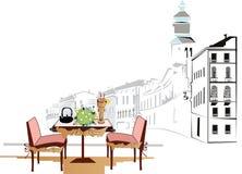 cafeitaly gata Royaltyfri Illustrationer