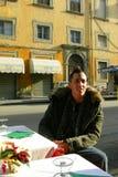 cafeitaly man tuscan Arkivfoton