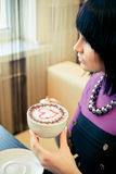 cafekvinnabarn royaltyfria foton