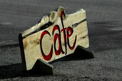 Cafen undertecknar royaltyfria foton