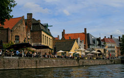 Cafes Along Brugge Canal Stock Photo