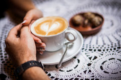Cafes, coffee, wedding rings Stock Photography