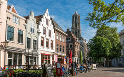 Cafes and old houses in Utrecht, Netherlands Royalty Free Stock Photo