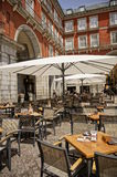 Cafes at Plaza Mayor Stock Photo