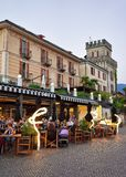 Cafes and restaurants in Ascona resort in Ticino Switzerland Royalty Free Stock Photo