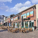 Cafes with terraces at Palace Ring, Tilbueg, Netherlands Royalty Free Stock Images