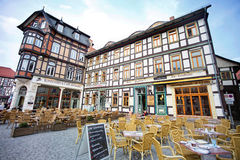 Cafes in Wernigerode. In Germany stock photo
