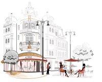 cafesserien skissar gator royaltyfri illustrationer