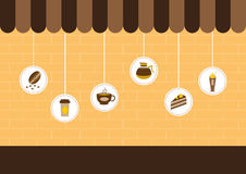 A cafetaria, compra e armazena ícones, ilustrações do vetor ilustração stock