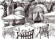 Cafetaria de Paris da tração da mão Imagens de Stock Royalty Free