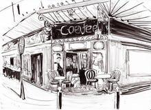 Cafetaria de Paris da tração da mão Fotos de Stock