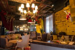 Cafetaria e sua guarnição interior Suzhou, China Foto de Stock