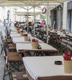 Cafetaria em Ljubljana, Eslovênia foto de stock royalty free