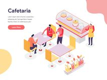 Cafetaria Illustration Concept. Isometric design concept of web page design for website and mobile website.Vector illustration stock photo