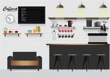 Cafetaria lisa moderna do projeto ilustração stock