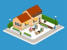 Cafetaria na rua, ilustração do vetor Foto de Stock Royalty Free