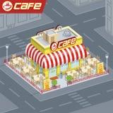 Cafetería de la fachada stock de ilustración