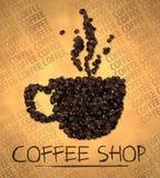Cafetería del icono del vapor de la taza en los papeles viejos stock de ilustración