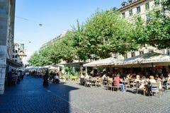 Cafetería en Ginebra, Suiza Imagen de archivo