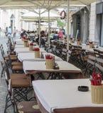 Cafetería en Ljubljana, Eslovenia Foto de archivo libre de regalías