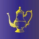 Cafetera, ejemplo dibujado mano del vector del bosquejo del fabricante de café Foto de archivo libre de regalías