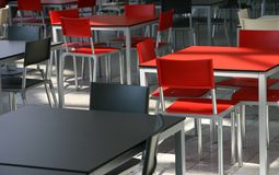 Cafeteria. Modern tables and chairs in a cafeteria Stock Image