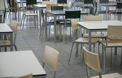 Cafeteria. Modern tables and chairs in a cafeteria Stock Photography