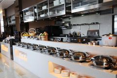The cafeteria buffet and kitchen Stock Image
