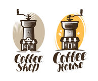 Cafeteria, coffee house, cafe logo or label. Hot drink, espresso, grinder icon. Handwritten lettering, calligraphy. Cafeteria, coffee house logo or label. Hot Stock Images