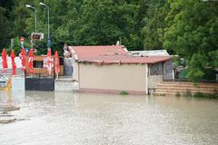 Cafeteria - extraordinary flood, on Danube in Bratislava Stock Photos