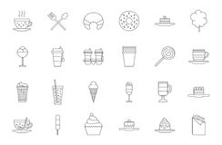 Cafeteria food black icons set Royalty Free Stock Photos
