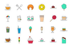 Cafeteria food colorful vector icons set Royalty Free Stock Photography
